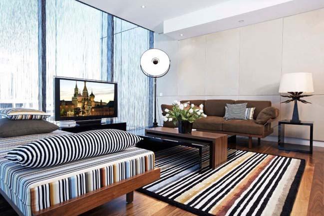 Penthouse với thiết kế hiện đại và mộc mạc