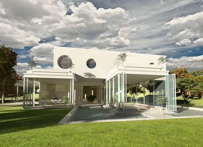 biet thu dep 01 Thiết kế biệt thự đẹp sang trọng với kiến trúc bán mở