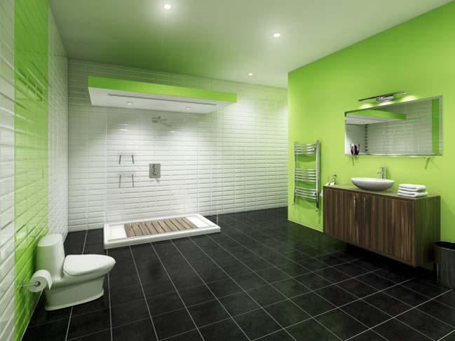 11 mẫu phòng tắm đẹp với tông màu xanh lá