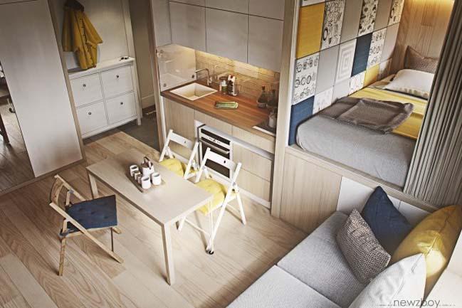 Nhà nhỏ đẹp với nội thất gỗ mộc mạc ấm cúng