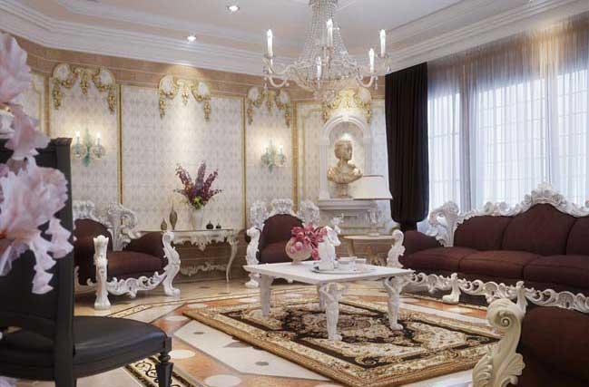 Phòng khách đẹp với thiết kế cổ điển sang trọng