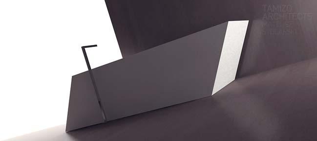 Thiết kế nội thất phòng tắm đơn giản với hình học