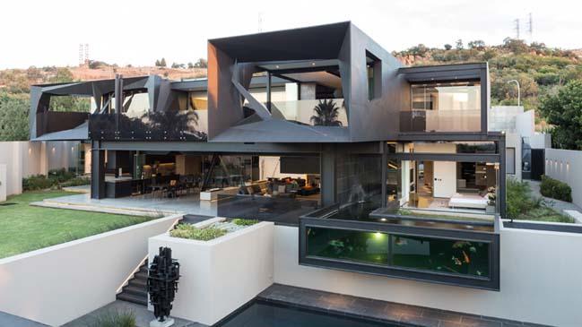 Mẫu thiết kế biệt thự đẹp màu đen với không gian mở