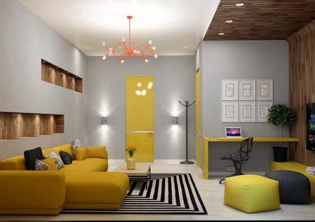 Căn hộ ấm áp với nội thất gỗ và điểm nhấn màu vàng