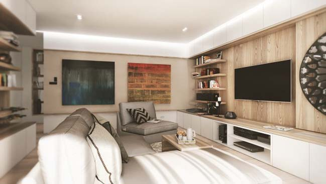 Thiết kế căn hộ với nội thất gỗ mộc mạc