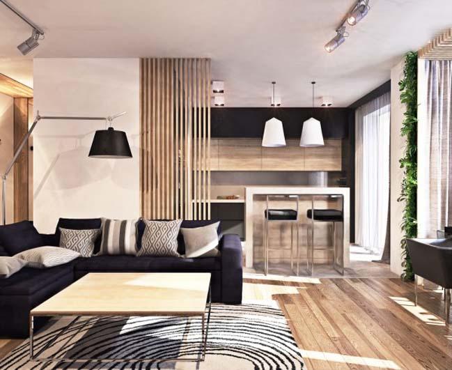 thiet ke noi that can ho 01 Tham quan căn hộ với thiết kế nội thất đương đại ấm cúng
