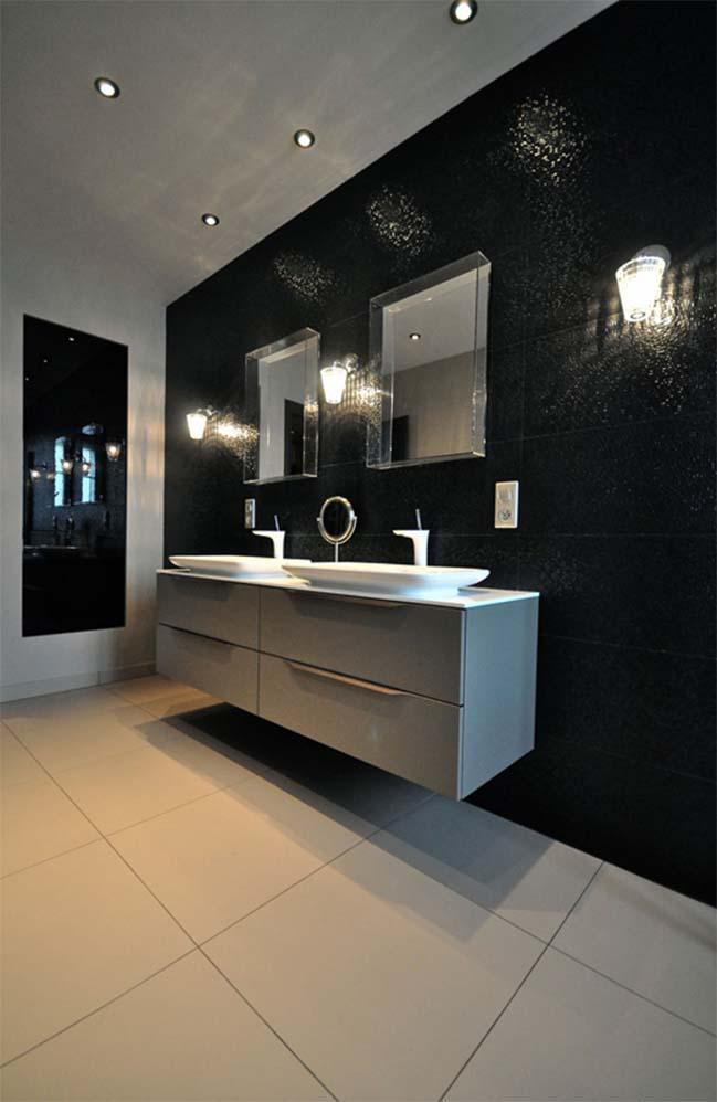Thiết kế nhà đẹp 2 tầng với nội thất màu đen sang trọng