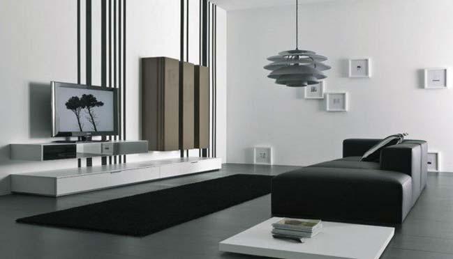 18 mẫu phòng khách đẹp với tông màu đen trắng