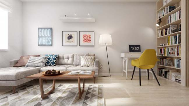 Căn hộ chung cư 60m2 với phong cách Midcentury