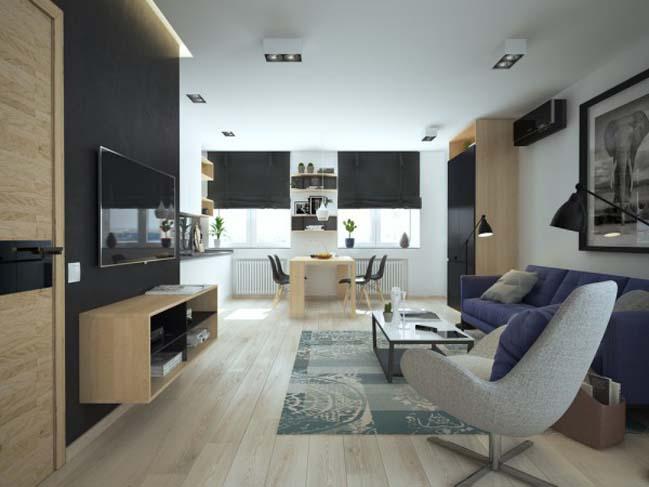 Thiết kế nội thất tinh tế cho căn hộ nhỏ 46m2