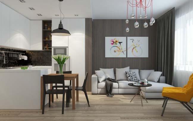 can ho chung cu 03 Gợi ý thiết kế nội thất căn hộ 45m2 đẹp gọn gàng