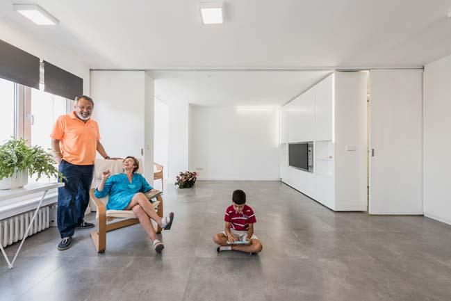 Thiết kế nội thất căn hộ với bức tường xoay