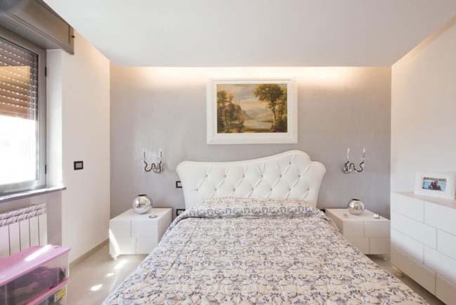 Nội thất căn hộ chung cư với màu trắng trang nhã