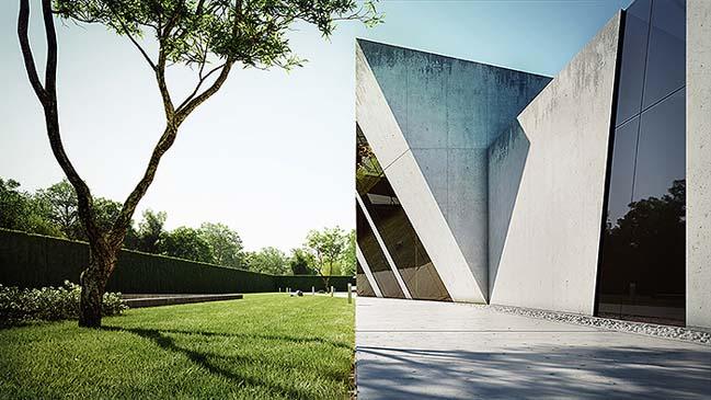 nha dep 01 Tham quan ngôi nhà đẹp với thiết kế độc đáo giữa bê tông và kính