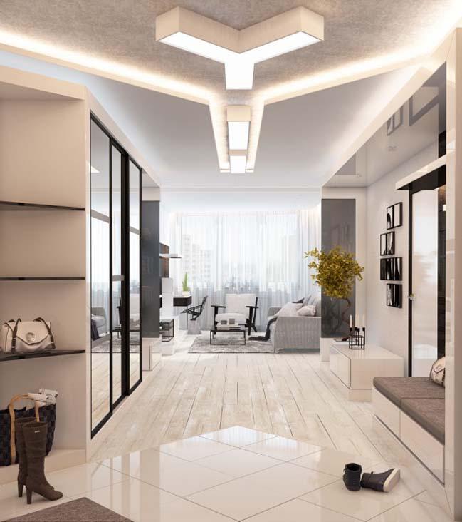 Nội thất căn hộ sang trọng với màu trắng chủ đạo