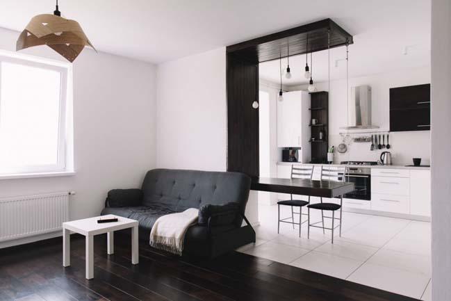 can ho chung cu 1 phong ngu 01 Thiết kế nội thất đơn giản tinh tế cho căn hộ 1 phòng ngủ