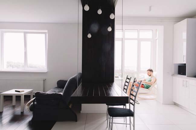 can ho chung cu 1 phong ngu 03 Thiết kế nội thất đơn giản tinh tế cho căn hộ 1 phòng ngủ