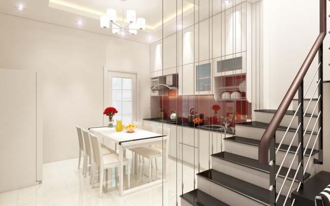nha pho dep 02 Gợi ý thiết kế nhà phố đẹp 60m2 với màu trắng chủ đạo