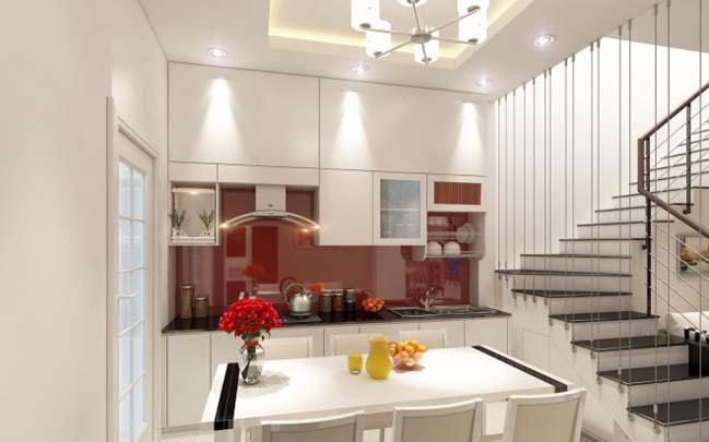 nha pho dep 03 Gợi ý thiết kế nhà phố đẹp 60m2 với màu trắng chủ đạo