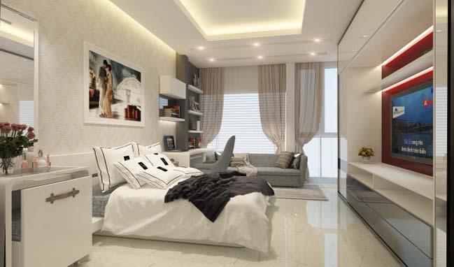 nha pho dep 05 Gợi ý thiết kế nhà phố đẹp 60m2 với màu trắng chủ đạo