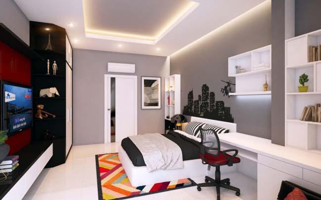 nha pho dep 07 Gợi ý thiết kế nhà phố đẹp 60m2 với màu trắng chủ đạo
