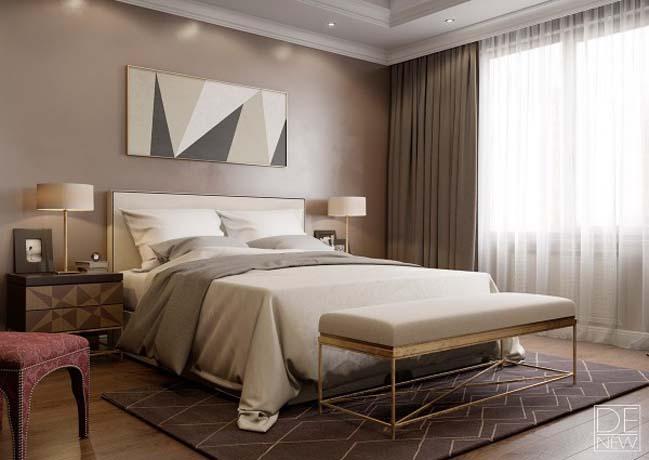 Phòng ngủ đẹp với tông màu nâu sang trọng