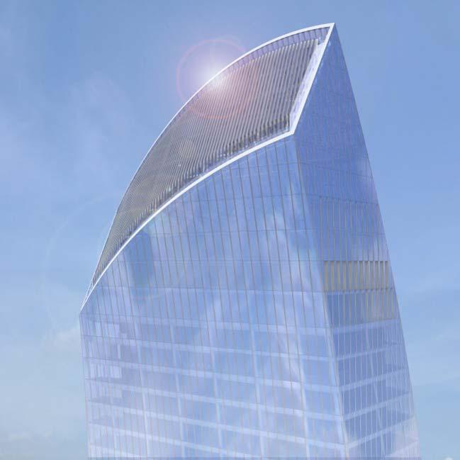 Kiến trúc tòa tháp với đường cong gợi cảm