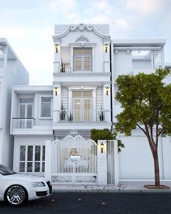 thiet ke nha pho dep 3 tang 01 Nhà phố đẹp 3 tầng với thiết kế Châu Âu sang trọng và hiện đại