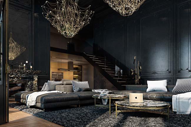 Mẫu nhà đẹp lộng lẫy với tông màu tối