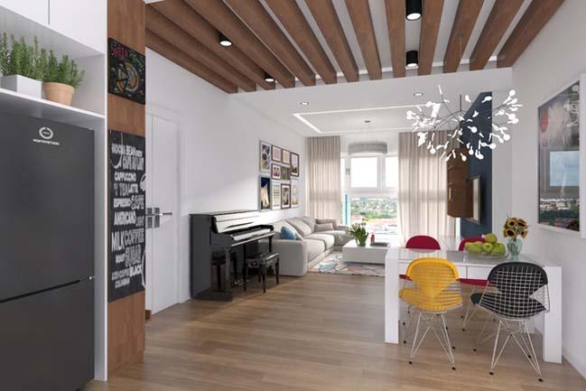 can ho chung cu 96m2 01 Cải tạo nội thất cho căn hộ 96m2 đẹp như penthouse