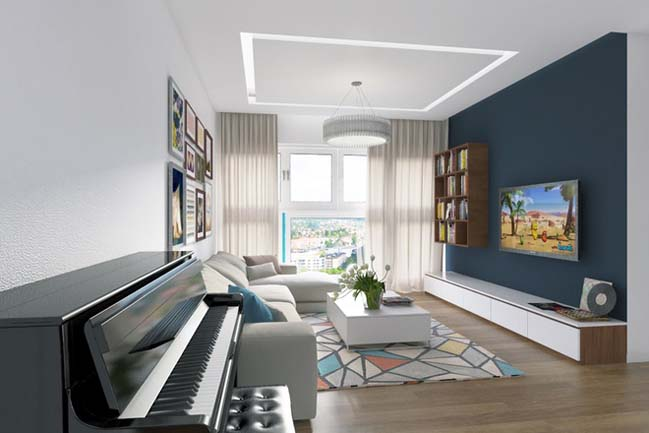 can ho chung cu 96m2 02 Cải tạo nội thất cho căn hộ 96m2 đẹp như penthouse