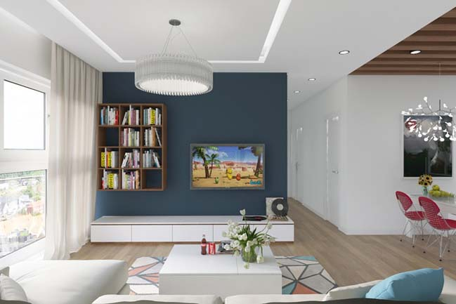 can ho chung cu 96m2 03 Cải tạo nội thất cho căn hộ 96m2 đẹp như penthouse