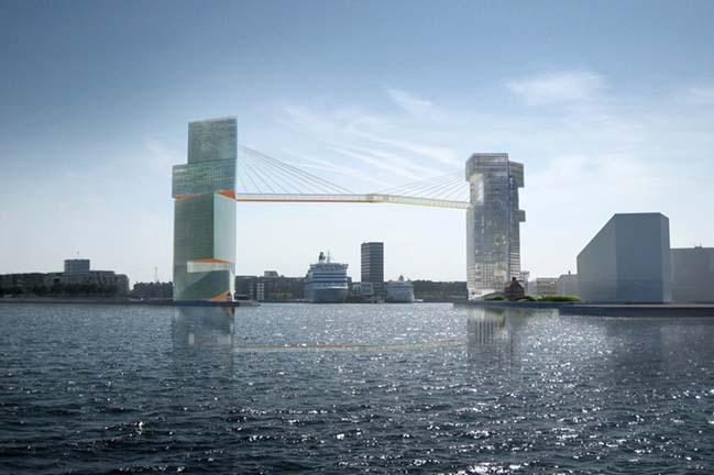 Kiến trúc 2 tòa tháp được kết nối bằng cầu treo