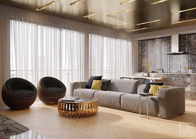 Căn hộ chung cư với nội thất gỗ ấm cúng