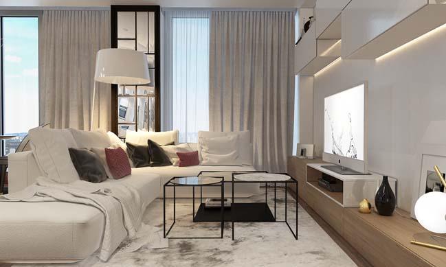 Căn hộ với nội thất trắng sáng trang nhã