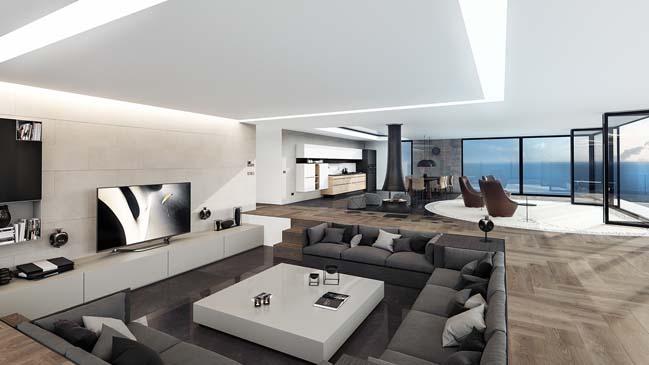 can ho penthouse 01 Bãi cát vàng trong căn hộ penthouse sang trọng với thiết kế đương đại