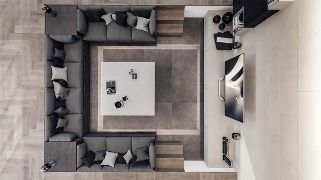can ho penthouse 02 Bãi cát vàng trong căn hộ penthouse sang trọng với thiết kế đương đại