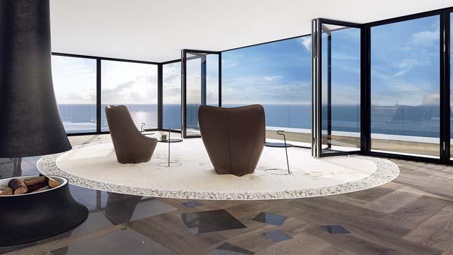can ho penthouse 04 Bãi cát vàng trong căn hộ penthouse sang trọng với thiết kế đương đại