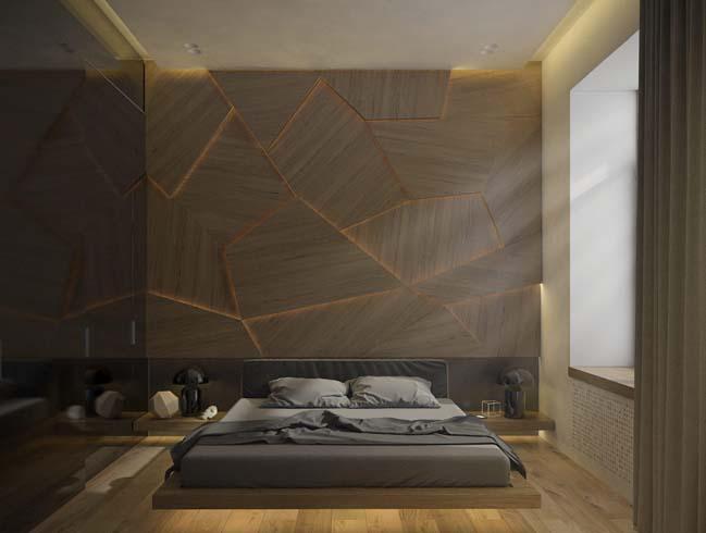 Căn hộ 1 phòng ngủ với sắc thái màu xám