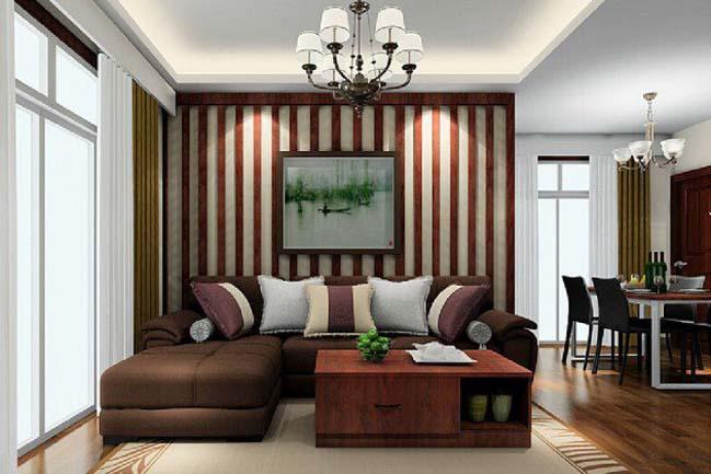 Trang trí cho phòng khách với những bức tường kẻ sọc