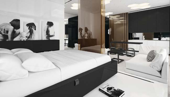 Nội thất căn hộ 1 phòng ngủ với 2 màu trắng đen