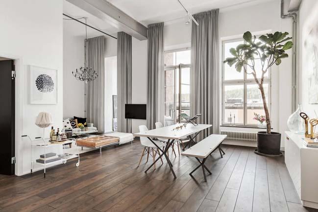 Nhà gác lửng đẹp với thiết kế Scandinavian trắng sáng