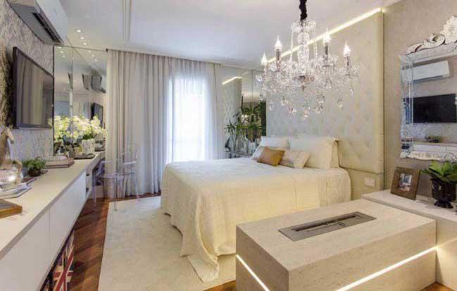 Tô điểm phòng ngủ đẹp với những chiếc đèn chùm