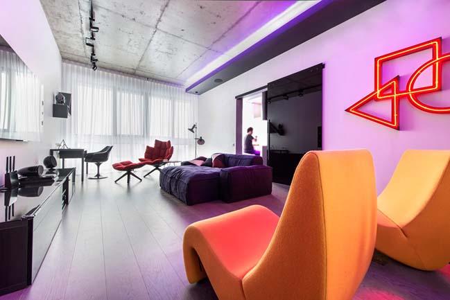 Căn hộ chung cư hiện đại lung linh với đèn LED