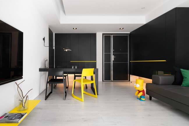 thiet ke noi that can ho chung cu 01 Thiết kế căn hộ chung cư với màu sắc tương phản theo phogn cách hiện đại