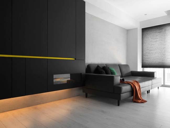 thiet ke noi that can ho chung cu 02 Thiết kế căn hộ chung cư với màu sắc tương phản theo phogn cách hiện đại