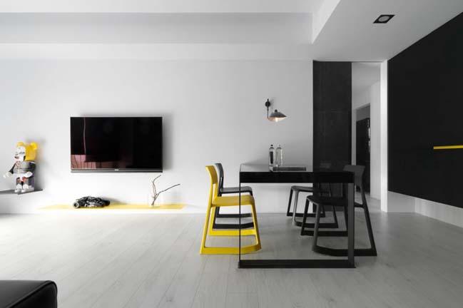 thiet ke noi that can ho chung cu 03 Thiết kế căn hộ chung cư với màu sắc tương phản theo phogn cách hiện đại