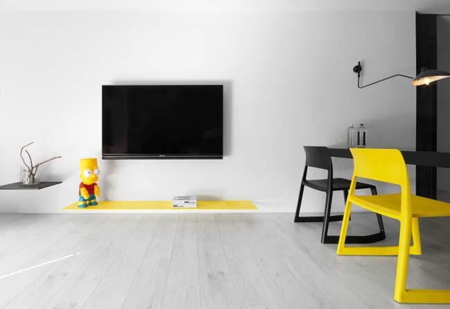 thiet ke noi that can ho chung cu 04 Thiết kế căn hộ chung cư với màu sắc tương phản theo phogn cách hiện đại