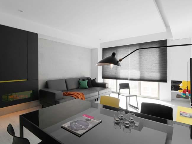 thiet ke noi that can ho chung cu 05 Thiết kế căn hộ chung cư với màu sắc tương phản theo phogn cách hiện đại