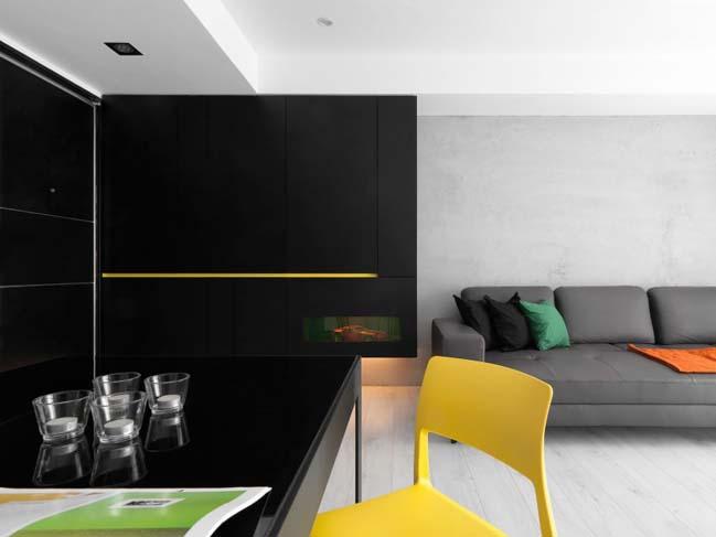 thiet ke noi that can ho chung cu 06 Thiết kế căn hộ chung cư với màu sắc tương phản theo phogn cách hiện đại